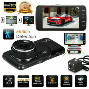 1080P Dual Lens Car Front and Rear Camera DVR Dash Cam Video Recorder 4'' FHD