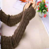 Women Winter Warm Knit Long Arm Warmers Fingerless Thumb Hole Gloves Mittens