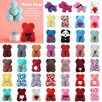 25CM Rose Bear Flower Teddy Gift For Girlfriend Wedding Birthday Valentine's Day