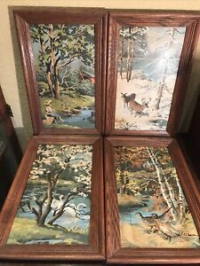 """Vintage Paint by Numbers """"FOUR SEASONS"""" Framed Mid Century Art Kit Craft 13""""x21"""""""