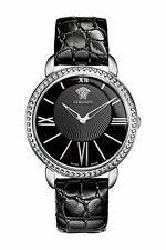 Versace M6Q99D008 S009 Krios Stainless Steel Watch w/ Black Leather Band