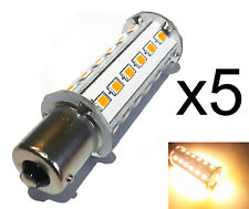 Qty 5, BA15S 33 LED 250 Lumen Warm White 3W Tower 10-30V DC 1141 1156 Boat RV