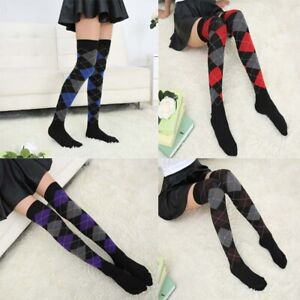 Womens Cable Knit Long Boot Socks Argyle Over Knee High School Girls Stocking