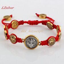 1pcs Antique gold Saint Benedict Medal on Adjustable Red Cord Wrist Bracelet