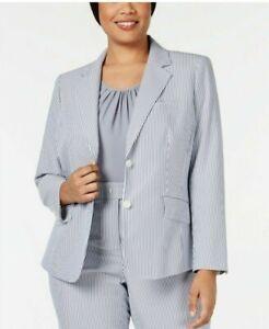 Anne Klein Women's 20W Sz Blue White Striped Seersucker One-Button Blazer Jacket