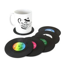 6pc Vinyl Record CD Retro Groovy Drink Coffee Tea Coasters Music Bar Table Mats