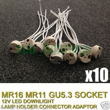 10 X MR16 12V LED DOWNLIGHT LAMP HOLDER SOCKET HALOGEN CONNECTOR CONNECTION