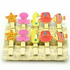 10PCS Ocean Animal Wood Clips Photo Paper Pegs Clothespin Craft Decoration 1 Set