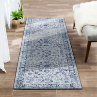 Hall Runners Rug Grey Blue Allover Distressed Beautiful Runners Carpet 80x300cm