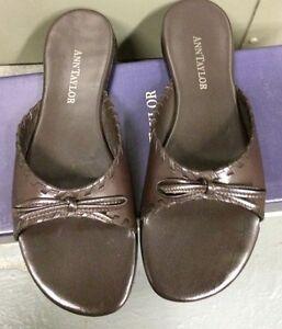 Ann Taylor Montana Slip On Brown Leather Slippers size 5 1/2  M  women's Brazil