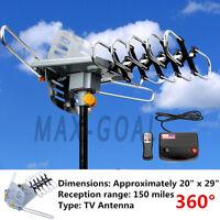 150 Mile HDTV 1080p Outdoor Amplified HD TV Antenna Digital UHF/VHF FM Radio i7