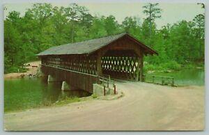Athens Georgia~Covered Bridge over Oconee River~Vintage Postcard