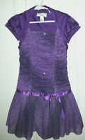 Gorgeous Purple BCX Girl Size 6 Dress with Purple Sequins Polyester