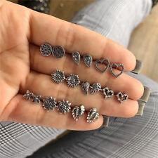 9 Pairs/Set Bohemian Wings Silver Ear Stud Earrings Wedding Earrings Jewelry FR