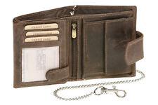 Bikerbörse Kette Außenverschluss LEAS MCL im Vintage-Stil in Echt-Leder, braun