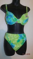 Vtg 80s 90s High cut leg Waist Sessa  2pc Bikini Swimsuit size 10