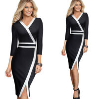 Women's 3/4 Sleeve Colorblock Party Cocktail Wear to Work Business Church Dress