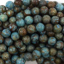 Brown Blue Turquoise Round Beads Gemstone 15.5