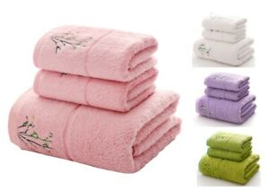 Adult Face Bath Towels Bamboo Fiber Embroidered Strong Water Absorption 3Pcs/Set