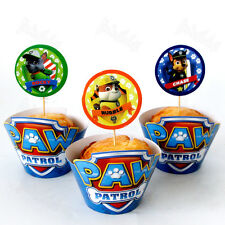 24pcs/set Paw Patrol Cupcake Wrappers&Toppers Picks Kid Party Birthday Supplies