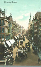 VIntage Postcard-Cheapside, London, UK,  Tuck, double decker sightseeing buses