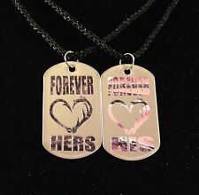 His Hers Antler Hook Heart Dog Tag Necklaces 2 PC Set NEW Buck Doe Girl Country