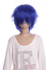 W-01-F11-1 blau blue 35cm Kaito Jellal COSPLAY Perücke WIG Haare Anime Manga