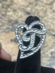Initial Cursive Large T Heart Ring with CZ Stones Sterling Silver 925 New!