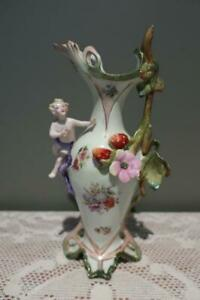 Antique Continental Porcelain Figural Jug / Ewer - Applied Cherub / Strawberries
