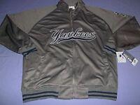 New York Yankees Tricot Track Jacket Full Zip Majestic Athletics Charcoal MLB