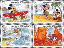 Grenadines Grenada 1985 Mark Twain/Disney/Cartoons/Mickey/Volcano/Boat 4v b4478k