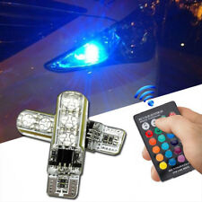 2PCS T10 5050 RGB LED Car Wedge Side Light Reading Lamp Bulb With Remote Control