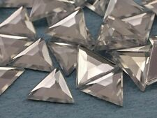13mm Crystal Clear A01 Flat Back Triangle Acrylic Gemstones - 50 Pieces