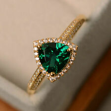 2Ct Trillion Cut Green Emerald Halo Engagement Ring Solid 14K Yellow Gold Finish