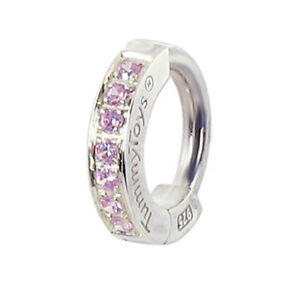 TummyToys Sterling Silver Navel Ring - Pave Set with Pink CZs  [TT-63013]