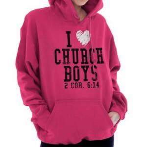 I Heart Love Church Boys 2Cor 6:14 Christian  Women Long Sleeve Hoodie Sweatshir