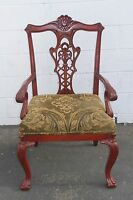 Vintage Chippendale Carved Accent Chair Red Tone Wood Frame Tan Fabric
