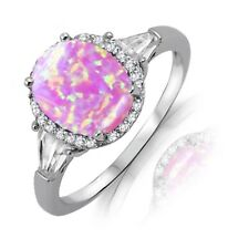 Sterling Silver Ring Size 3 - 12 Large Oval Cut Pink Fire Opal White Sapphire