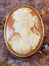 Estate 14K Ornately Hand Carved Beautiful Lady Shell Cameo Pin Brooch Signed