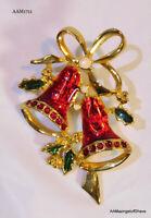 Vintage Gold Tone Metal Brooch Pin Christmas Bells w/ Tac Closure