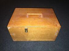 HANDMADE HINGED WOOD STORAGE BOX-HANDLE-10.25x14.5x7.25 IN-INNER REMOVABLE SHELF
