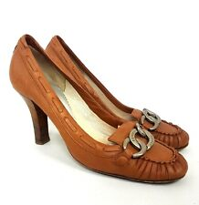 """EMPORIO ARMANI Womens Heels UK 5 EUR38 Brown Leather Chain Detail 3"""" Court Shoe"""