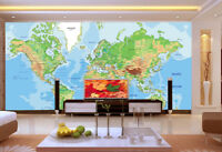 Papel Pintado Mural De Vellón Mapa Del Mundo Azul 2 Paisaje Fondo De Pantalla ES