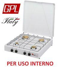 FORNELLO A GAS GPL 4 FUOCHI VALVOLATO PARKER GRIGLIA CROMATA- PER USO INTERNO -