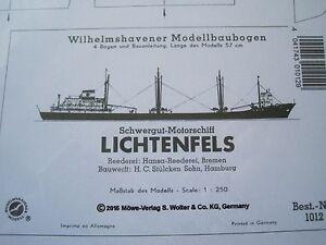 Lichtenfels Fracht Schiff Wilhelmshavener Modellbaubogen Bastelbogen Kartonmodel