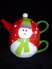 "Pier 1 ""Snowball"" Tea For One Teapot & Cup Hand Painted Dolomite"