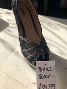 Pink black patent heel Platform 'thrill' Peep Toe With pewter Size 5 new