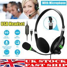 More details for usb wired headset headphones with microphone mic for call pc computer laptop uk