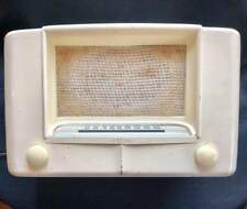 Vintage Wards Airline Radio 6D12 White Tube 1940s Mid Century Modern Works