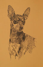 Miniature Pinscher Dog Art Print #49 Word Drawing Kline adds dogs name free.
